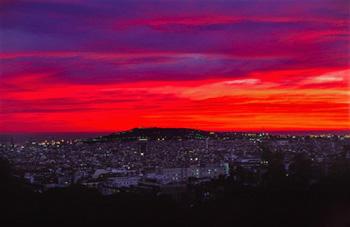 Del color del atardecer en Barcelona